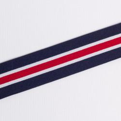 Резина декор. 37мм полосы т.син/бел/крас