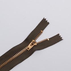 Молния металл Т5 18см джинс хаки/зол