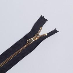 Молния металл Т5 18см джинс черный/золото