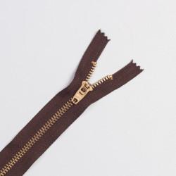 Молния металл Т5 16см джинс корич/золото
