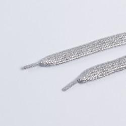 Шнурки обувные плоские 10мм 130см пара серебро