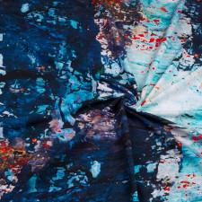 УЦЕНКА Футер 2х нитка компакт пенье диджитал принт синий абстракция