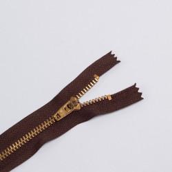 Молния металл Т5 18см джинс коричневый/золото