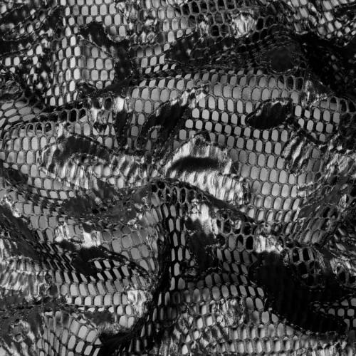Сетка вышитая под неопрен с аппликацией из иск. кожи