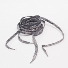 Шнурки плоские металлиз. 120см серо-черный
