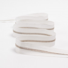 Молния металл Т3  белый/серебро метраж