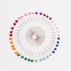 Булавки портновские на круге цветные пластик V108C 38мм 40шт/уп