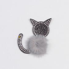 """Аппликация пришивная """"Кошка"""" серый 5х6см"""