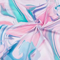 УЦЕНКА Футер 2х нитка компакт пенье диджитал принт розовый абстракц