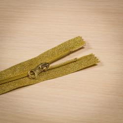 Молния спираль Т5 18мм брючная люрекс золото