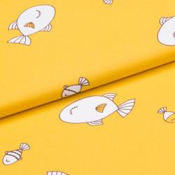 УЦЕНКА Интерлок принт желтый рыбки